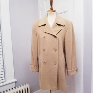 Larry Levine Camel Double Breasted Coat, Size 6P